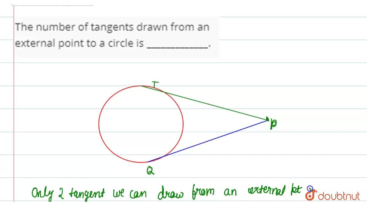 The number of tangents drawn from an external point to a circle is _____________.