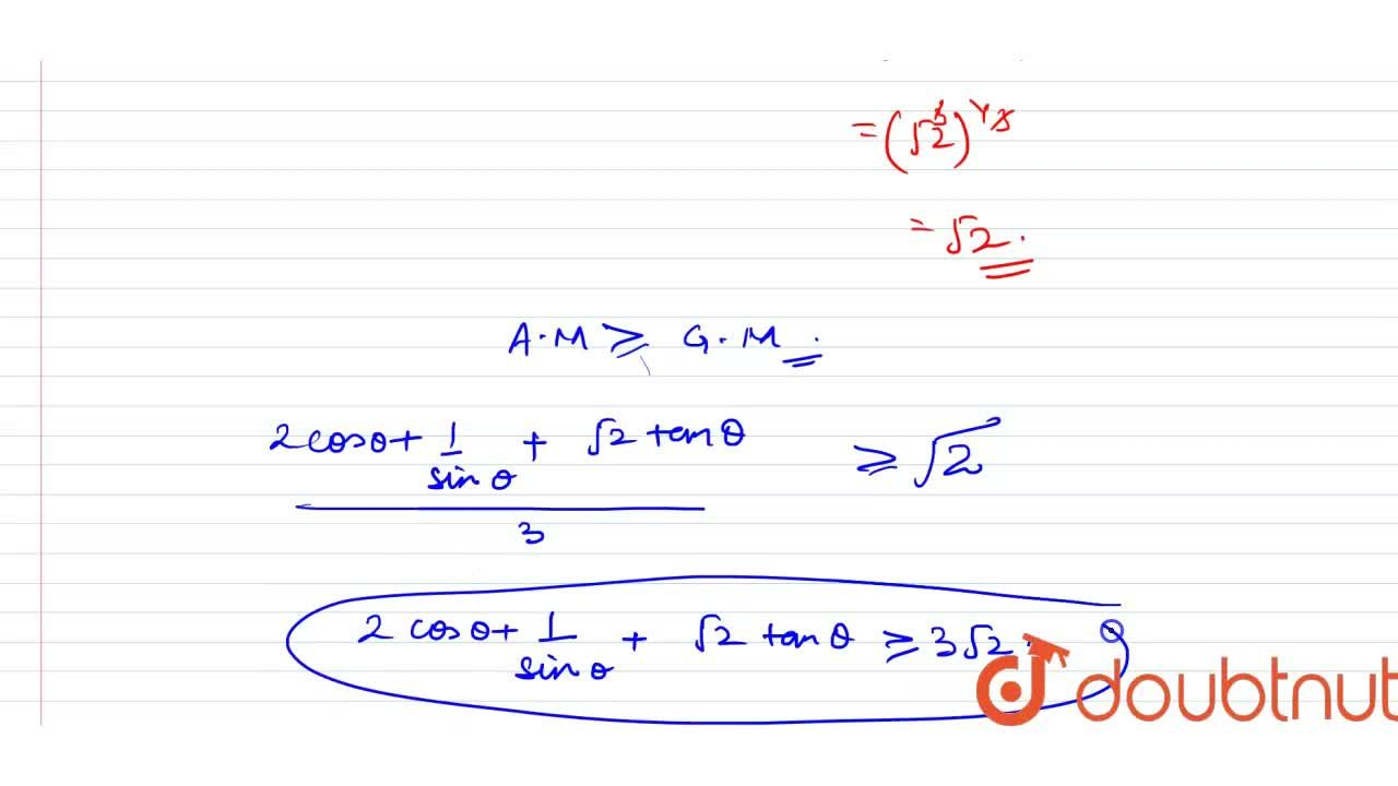 Solution for Find the minimum value of 2costheta+1,sin theta+s