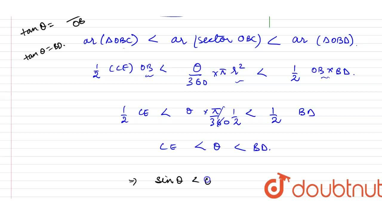 Solution for For acute angle theta, Prove that sinthetaltthe