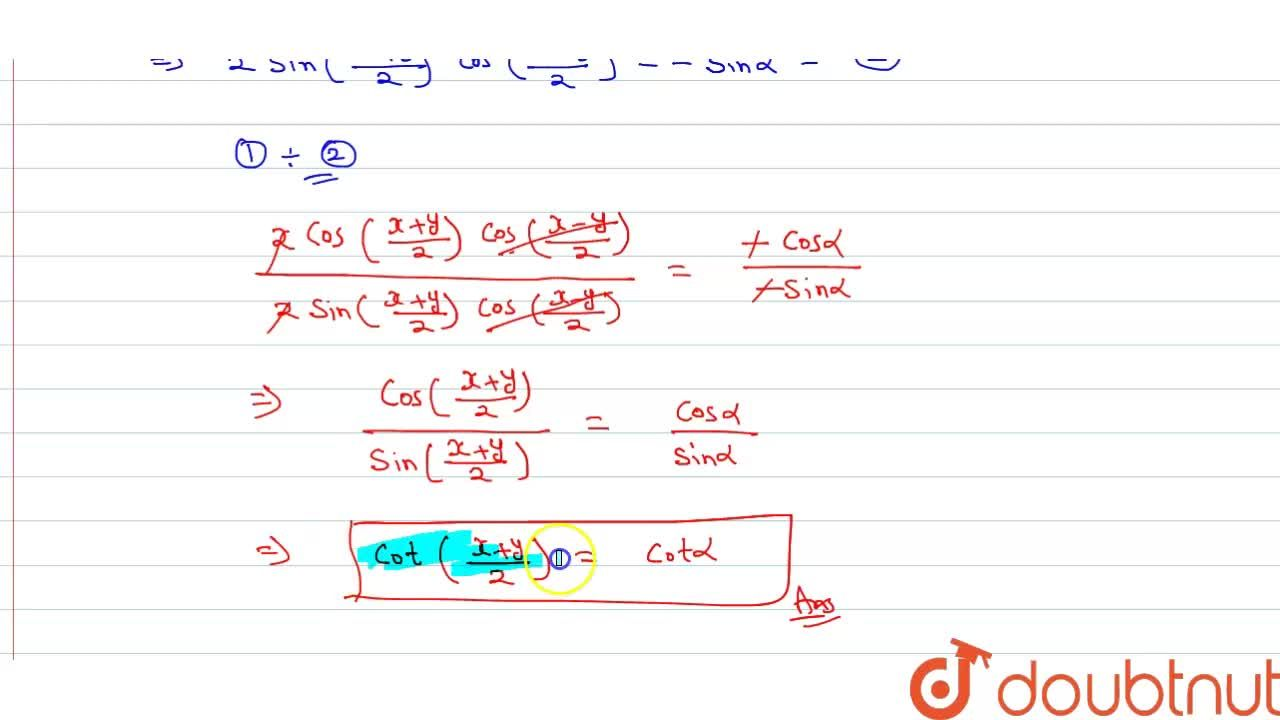 Solution for If cosx+cosy+cosalpha=0 and sinx + siny + sinal