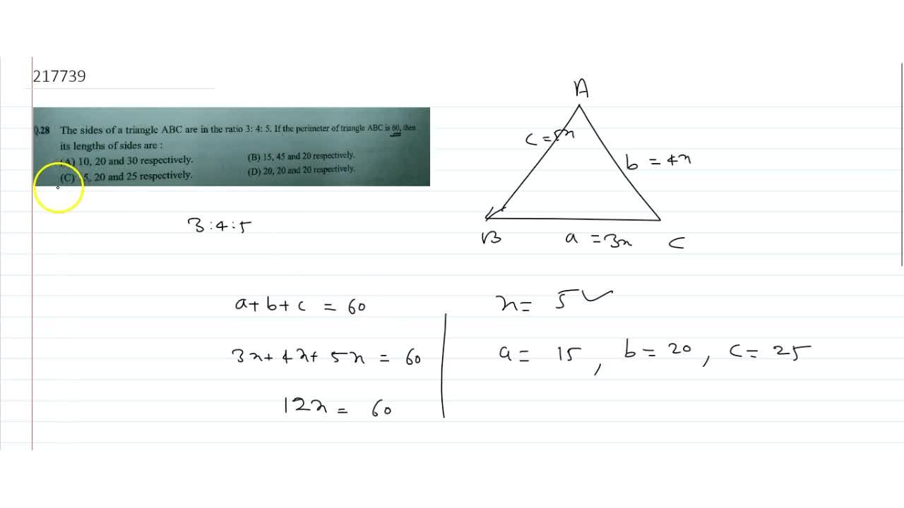Solution for The sides of a triangle ABC are in the ratio 3: