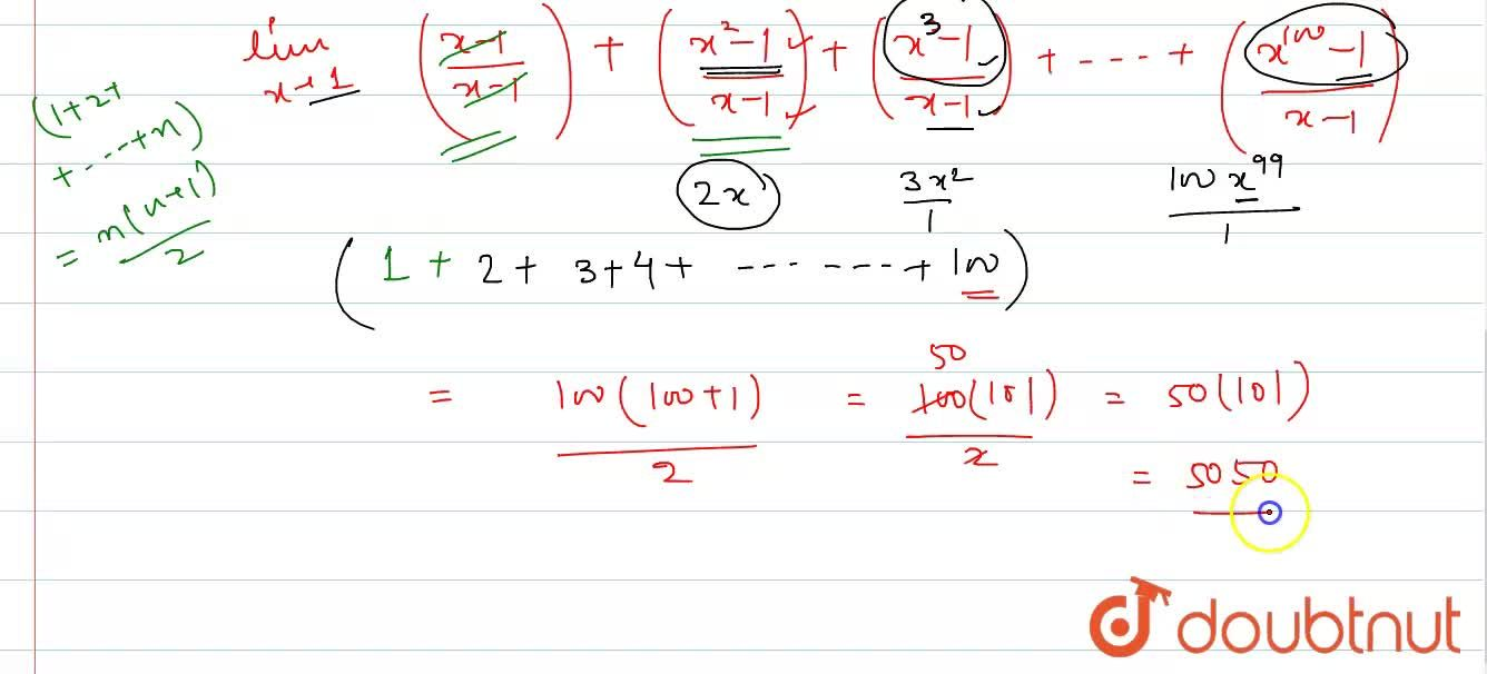 Solution for Evaluate lim_(x to 1) sum_(k=1)^(100)  x^(k) - 10