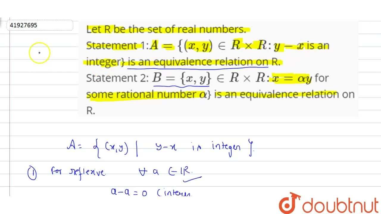 Solution for Let R be the set of real numbers. <br> Statement 1