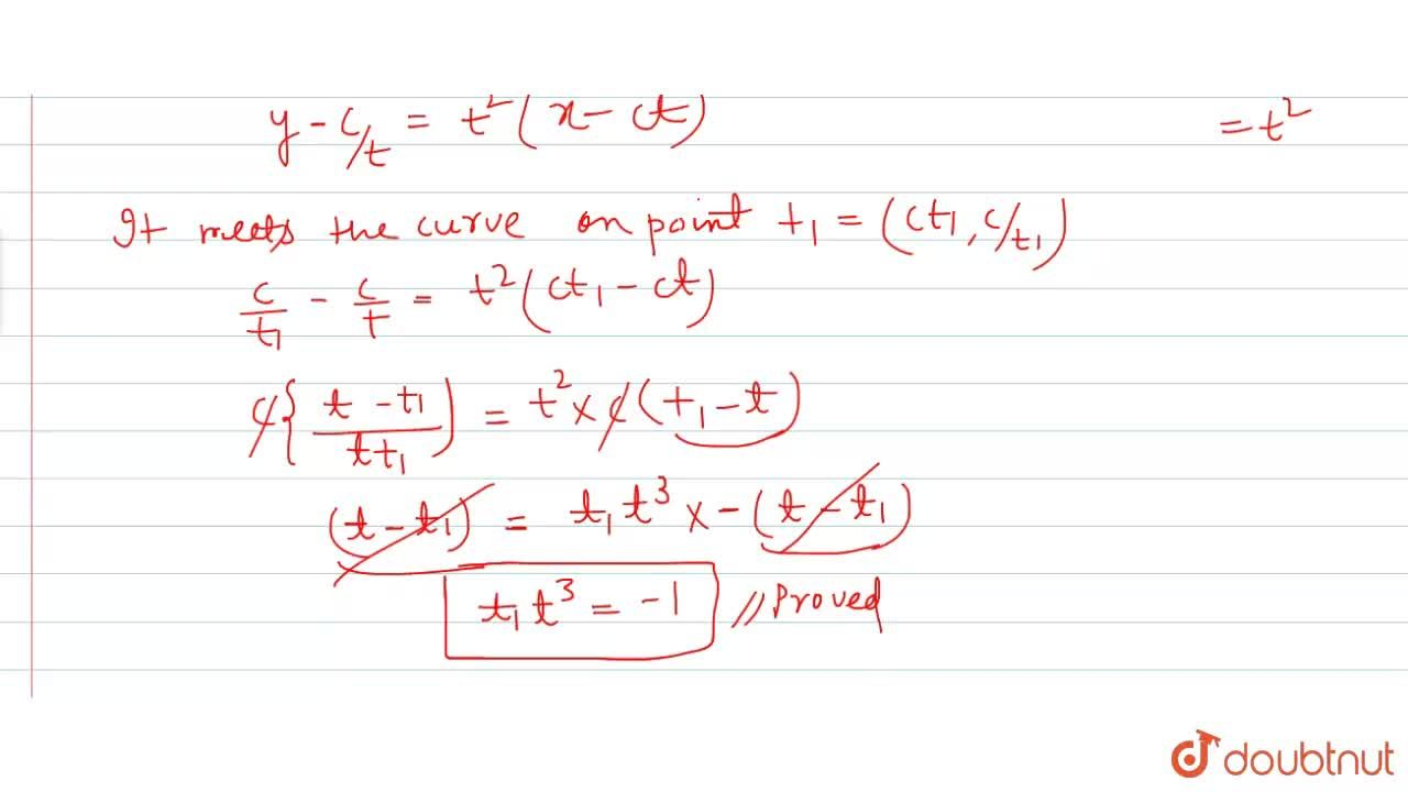 Solution for If the normal at point 't' of  the curve xy  = c^