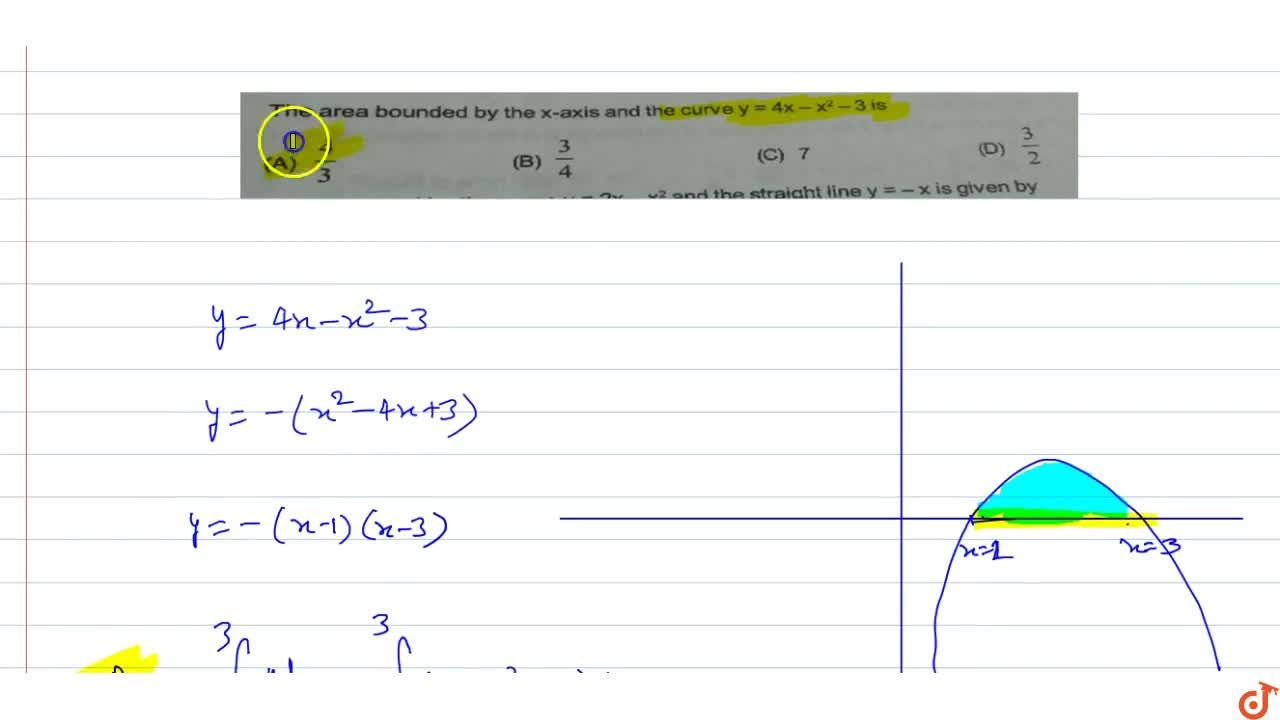 Solution for The area bounded by the x-axis and the curve y =