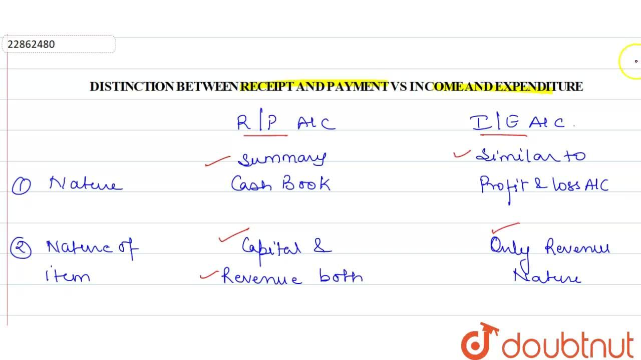 Solution for DISTINCTION BETWEEN RECEIPT & PAYMENT ACCOUNT VS I