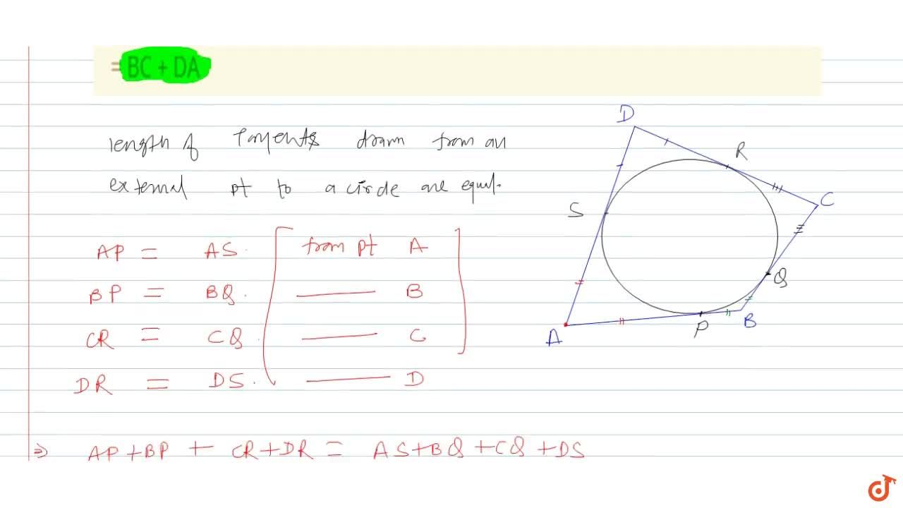 A circle touches all the four sides of a quadrilateral ABCD. Prove that AB + CD = BC + DA