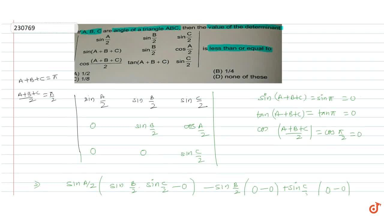 Solution for  If  A, B, C are angle of a triangle ABC, then