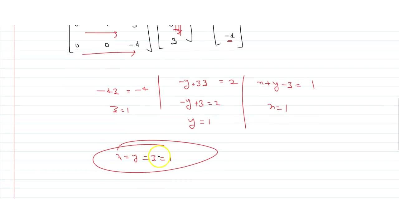 Solution for  Solve by matrix method, the following equations :