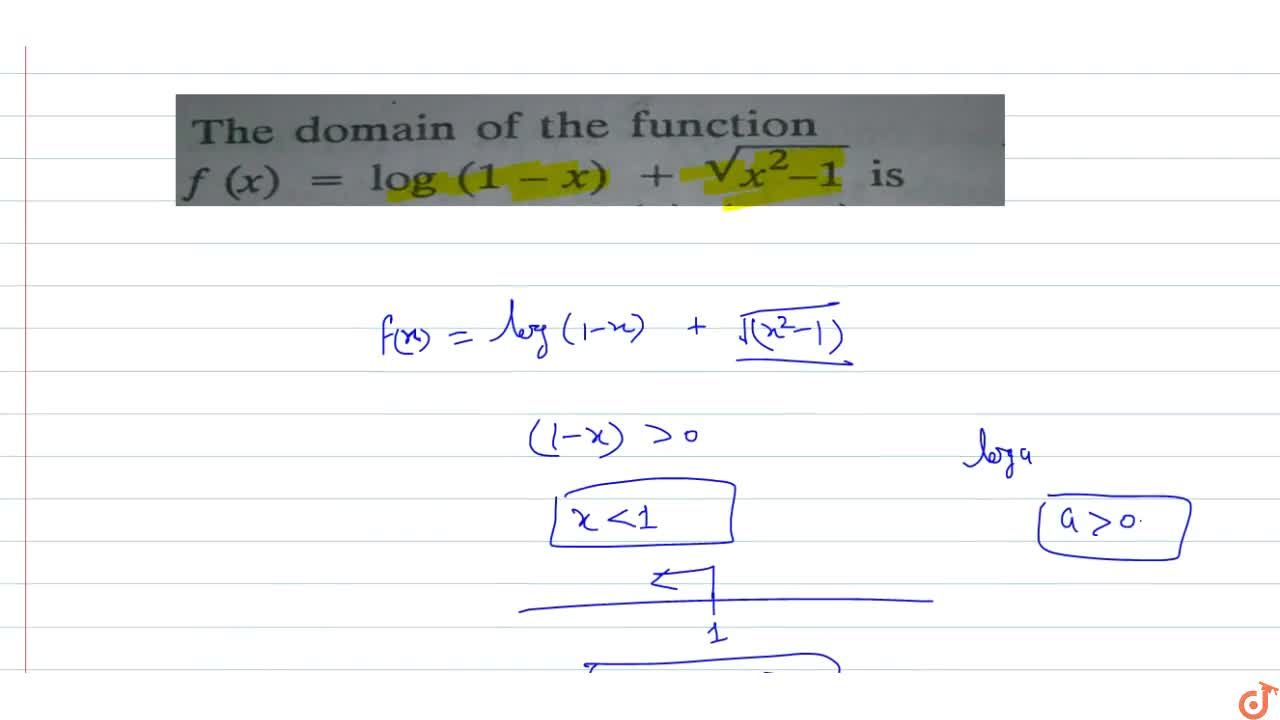 The domain of the function f(x)=log(1-x)+sqrt(x^2-1)i s 3.is