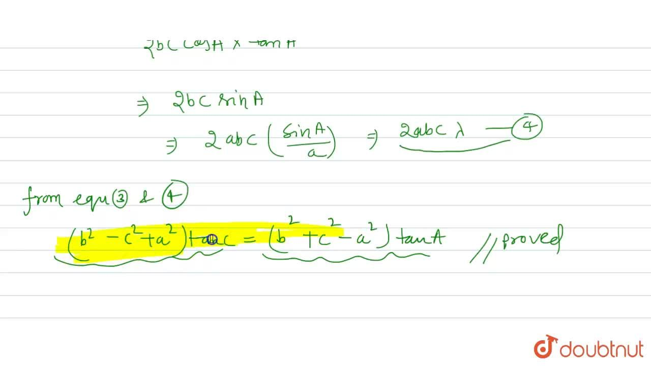 Solution for In DeltaABC, prove that: <br> (b^(2)-c^(2)+a^(2