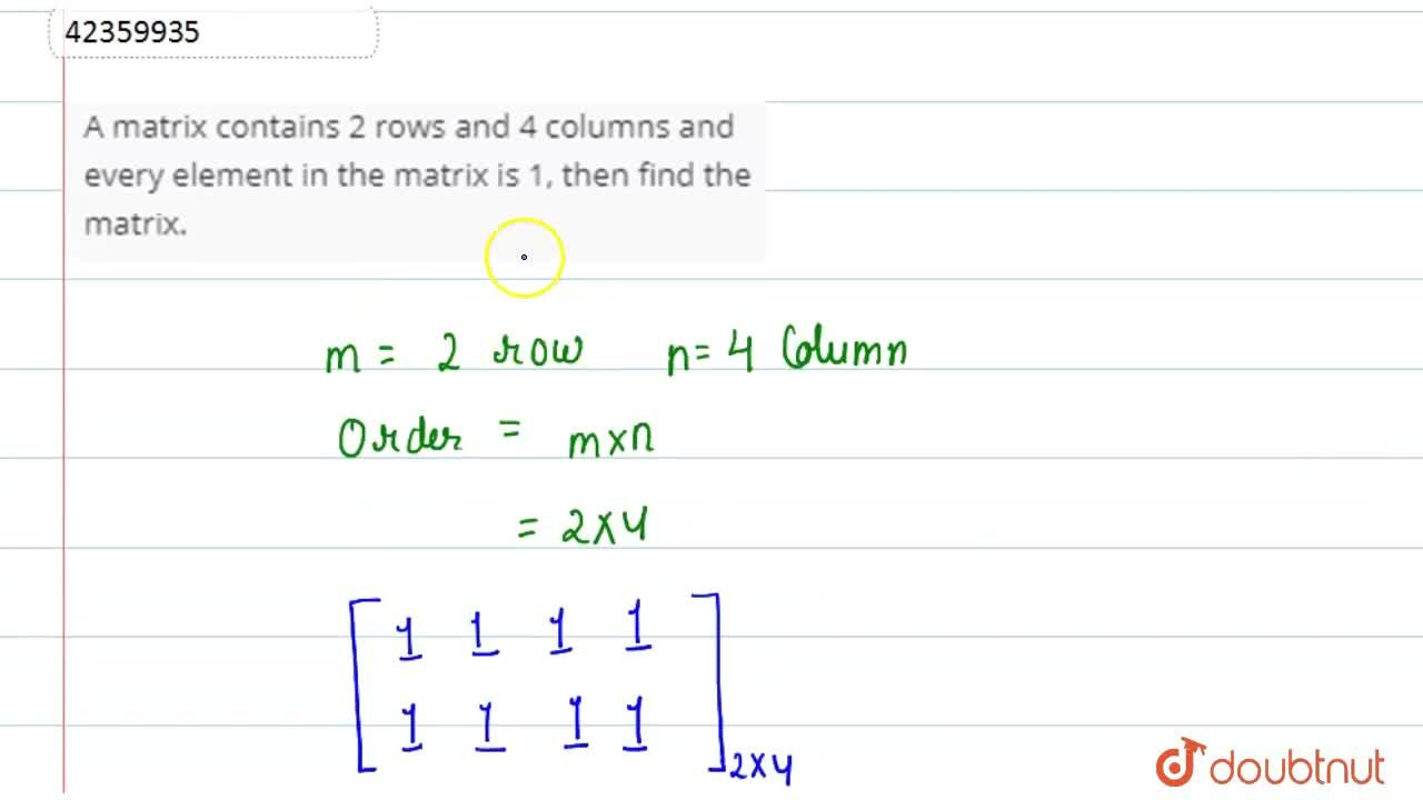 Solution for A matrix contains 2 rows and 4 columns and every e