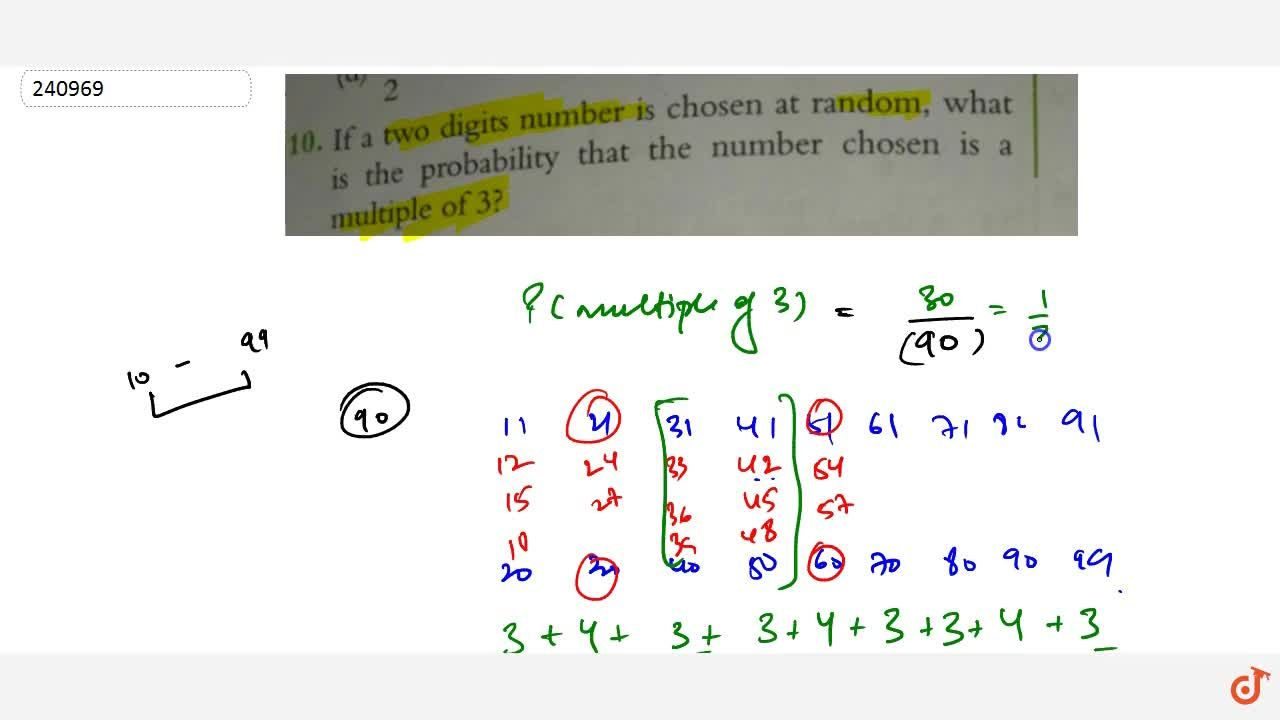 Solution for If a two digits number is chosen at random, what i