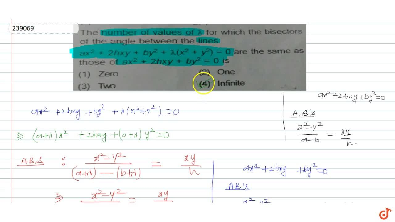 Solution for The number of values of  lambda for which the bi
