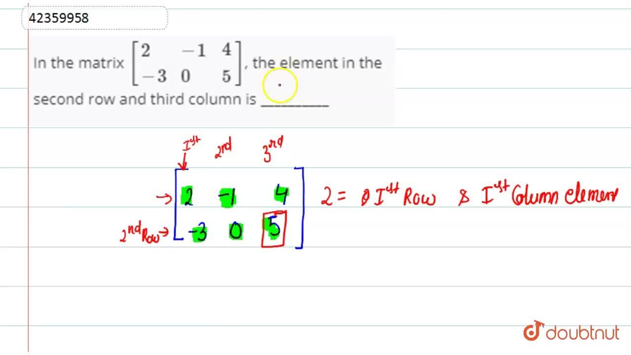 Solution for In the matrix [{:(2,-1,4),(-3,0,5):}], the eleme
