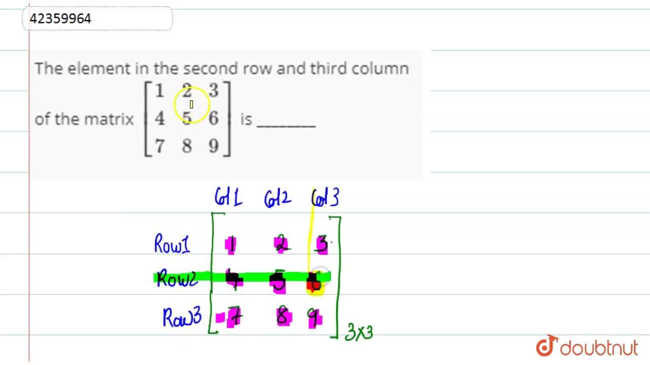 The element in the second row and third column of the matrix [{:(1,2,3),(4,5,6),(7,8,9):}] is ________