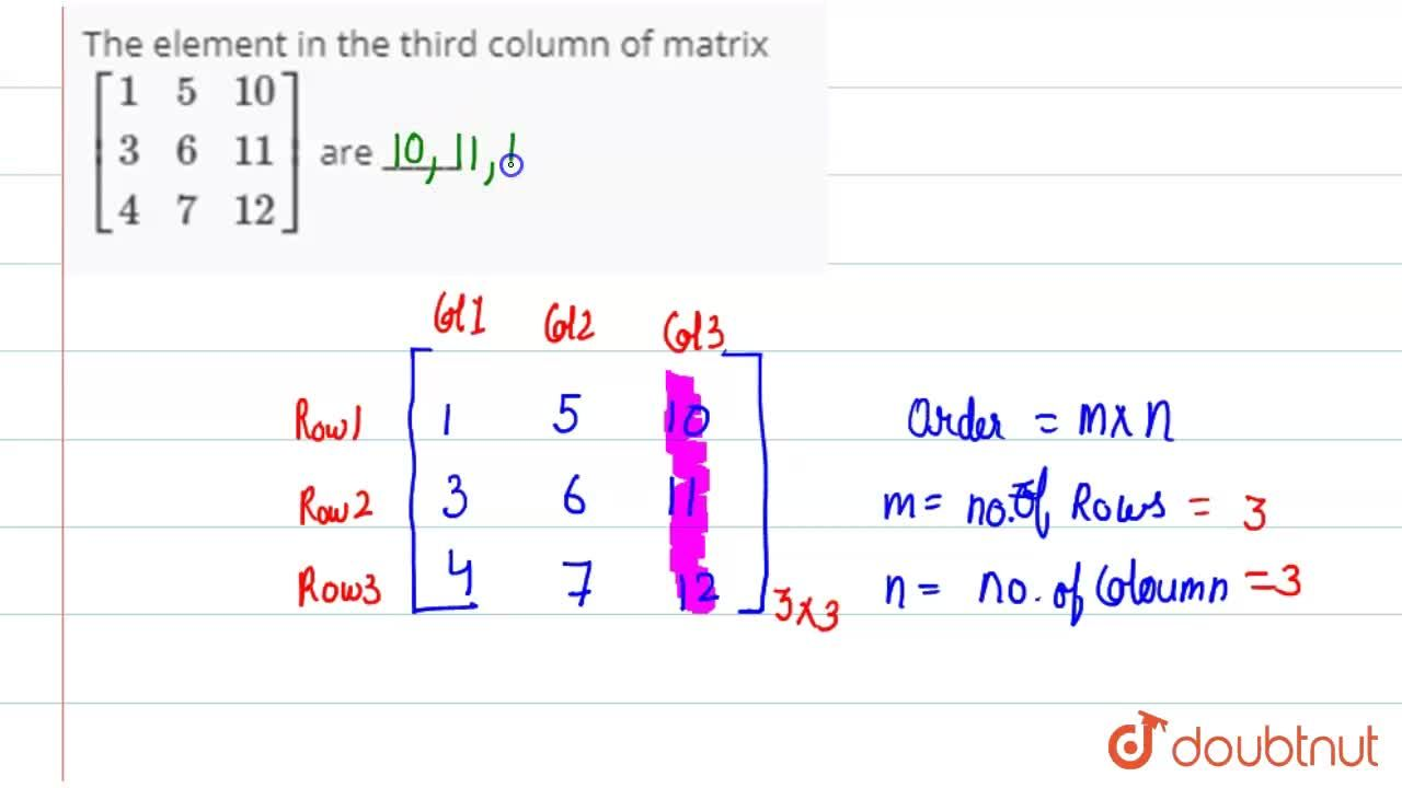 Solution for The element in the third column of matrix  <br> [