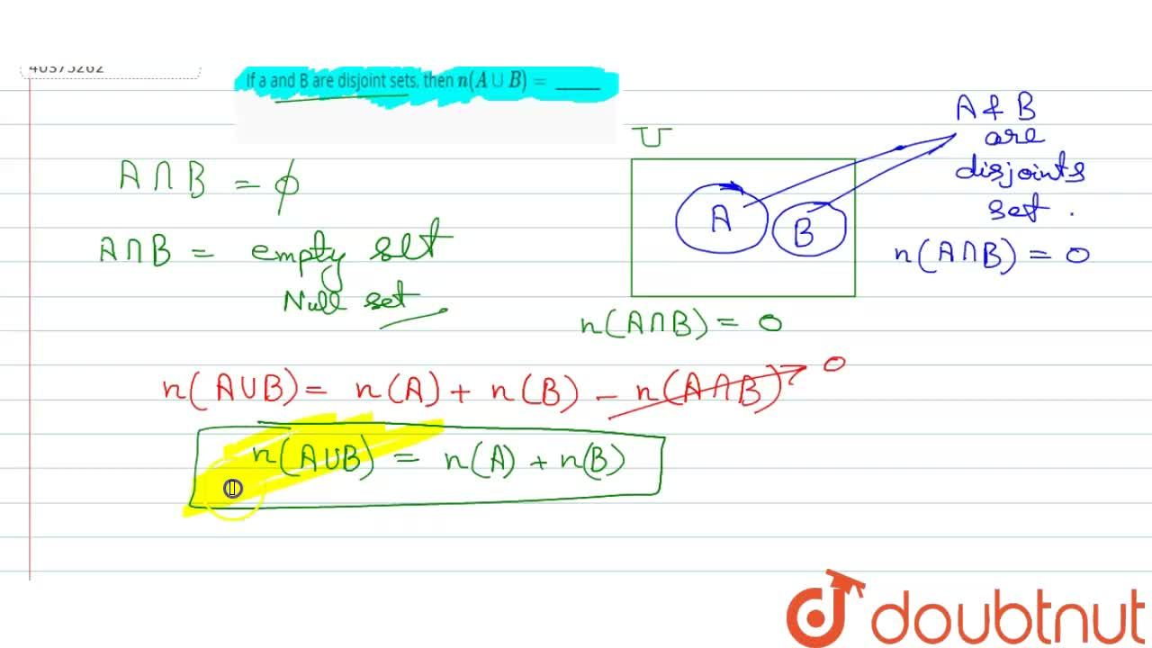 Solution for If a and B are disjoint sets, then n(A uu B)= __