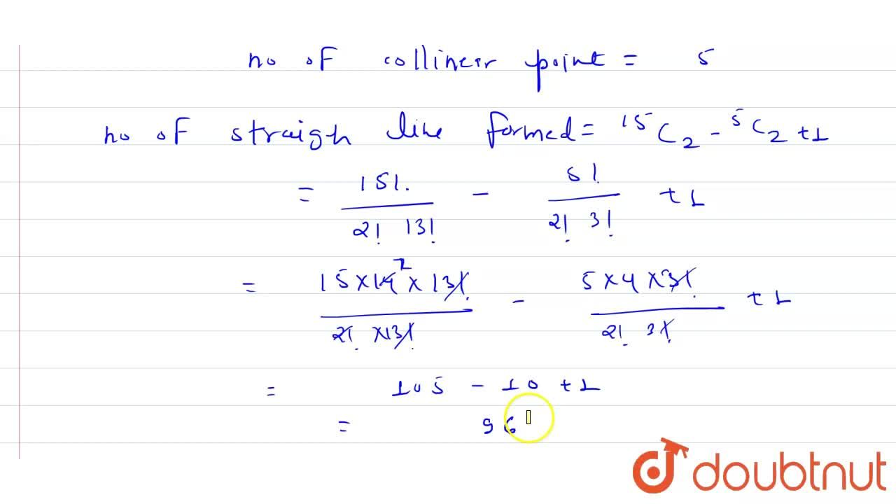 Solution for There are 15 points in a plane. No three points ar