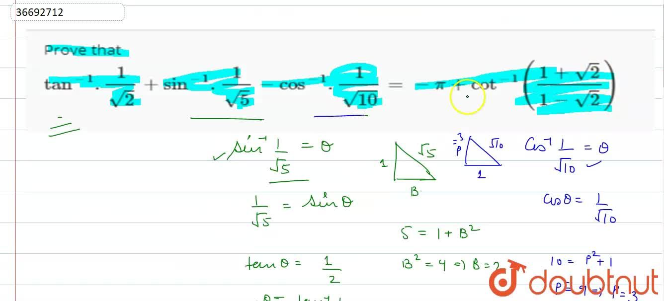 Solution for Prove that tan^(-1).(1),(sqrt2) + sin^(-1).(1),(s