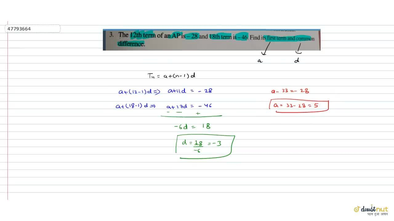 Solution for The 12^(th) term of an AP is -28 and 18^(th)