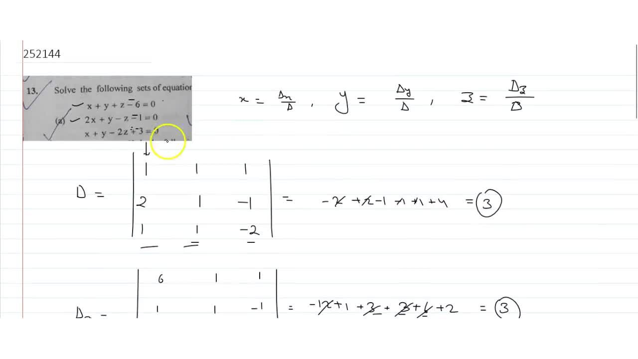 Solution for Solve the following sets of equations using Cramer