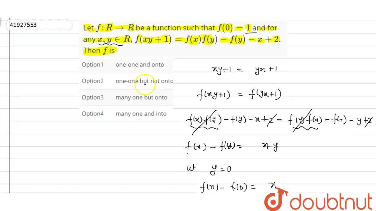 Solution for Let f : R to R be a function such that f(0)=1