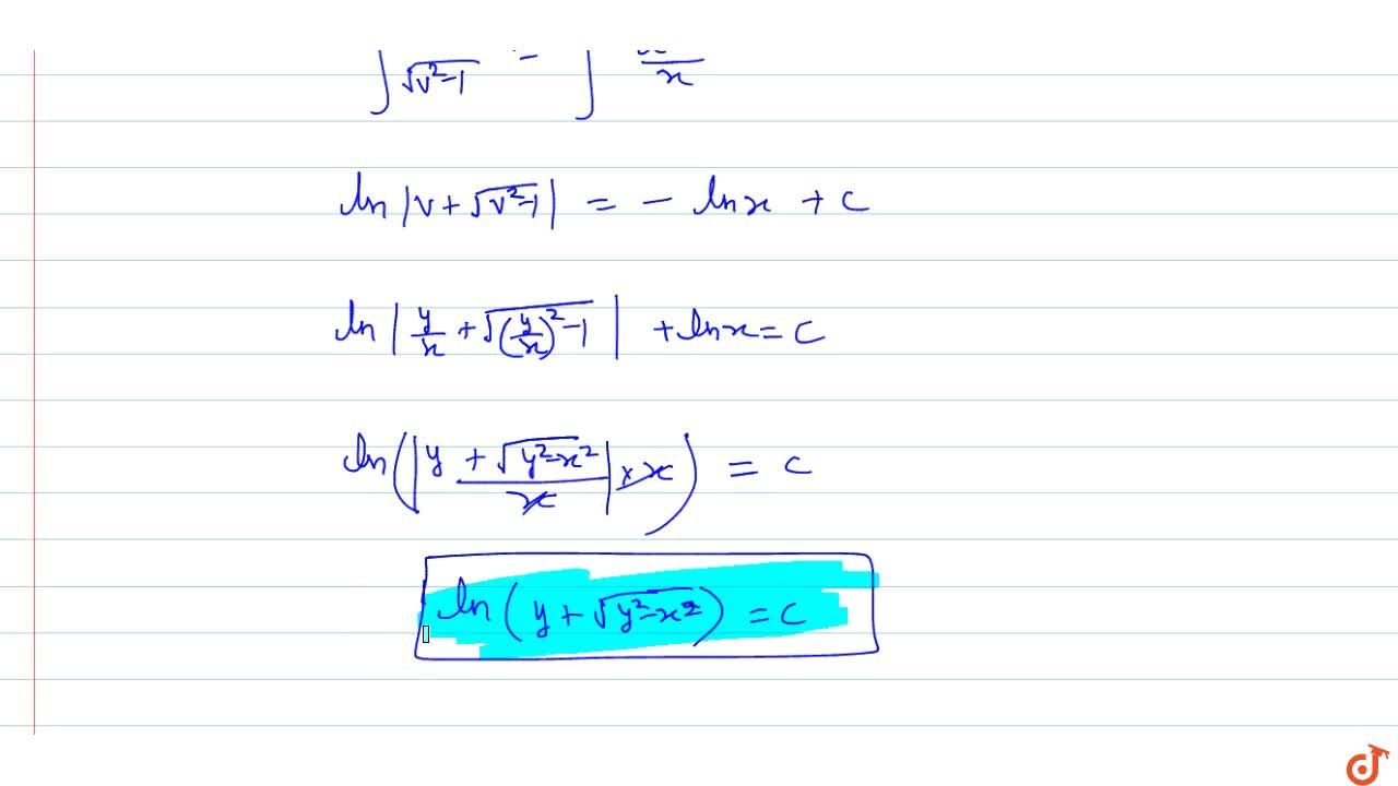 Solution for Solve the following differential equations: (dy),