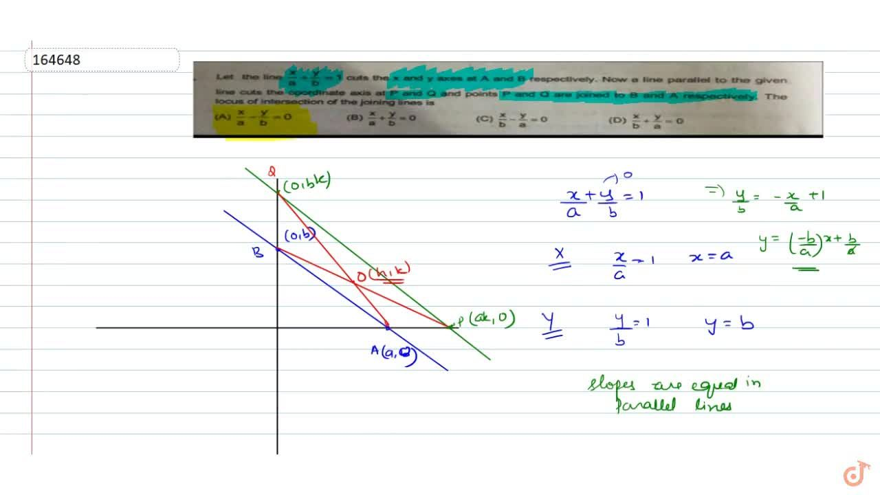Solution for  Let the line x,a+y,b=1  cuts the x and y axes a