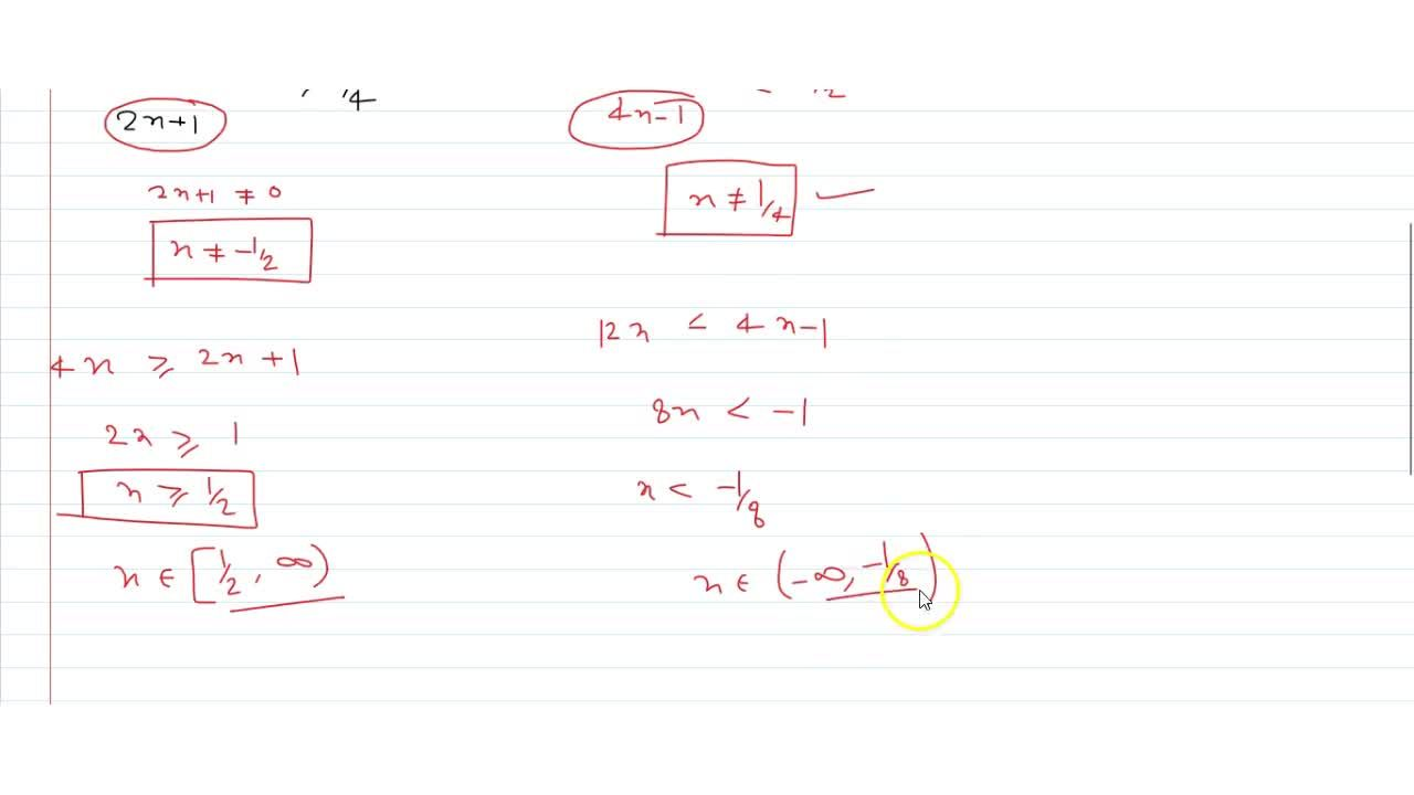 Solution for solve x,(2x+1) >= 1,4 and (6x),(4x-1) > 1,2