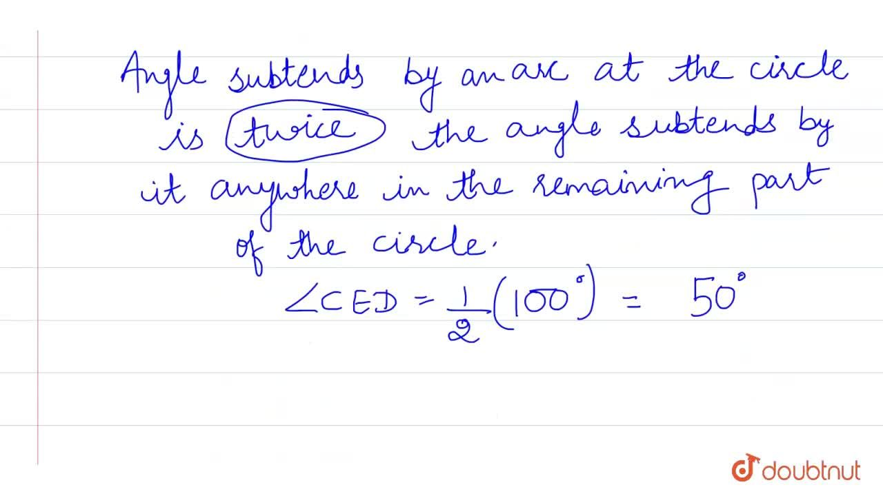 """In the following figure, O is the centre of the circle. AB and CD are equal chords. If angle AOB=100^@ , Find the angle CED. <br> <img src=""""https:,,d10lpgp6xz60nq.cloudfront.net,physics_images,PS_MATH_X_C13_S01_011_Q01.png"""" width=""""80%"""">"""