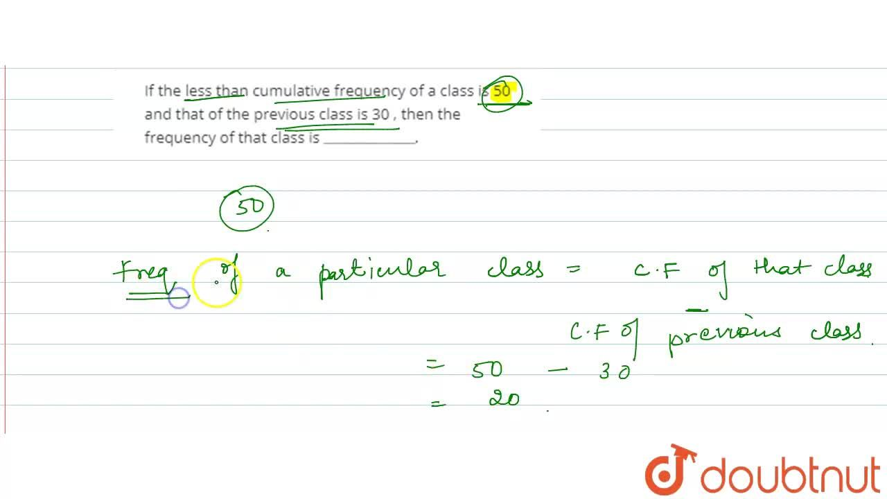 Solution for If  the less than cumulative frequency of a class