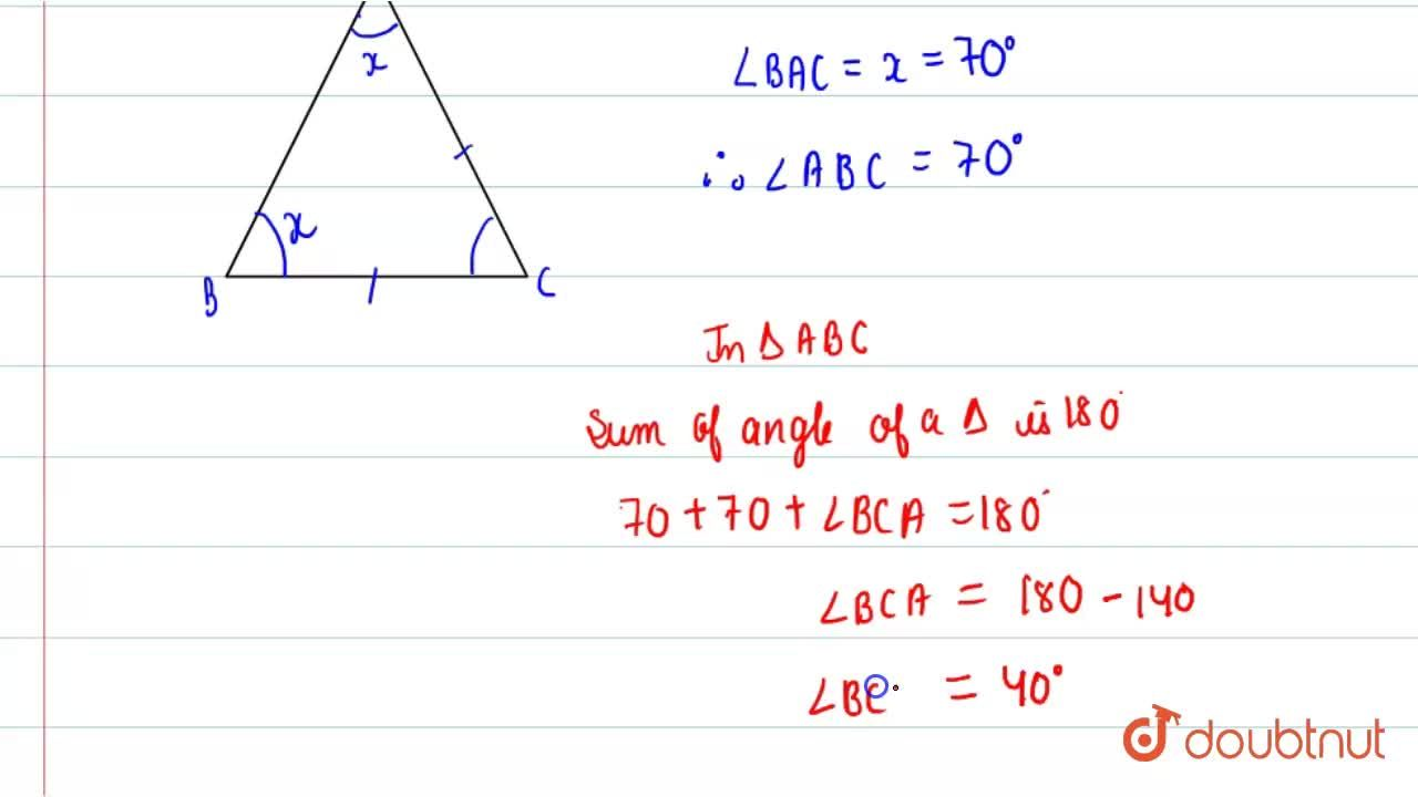 Solution for In Delta ABC,AC=BC and ,_ BAC =70^(@). Find ,