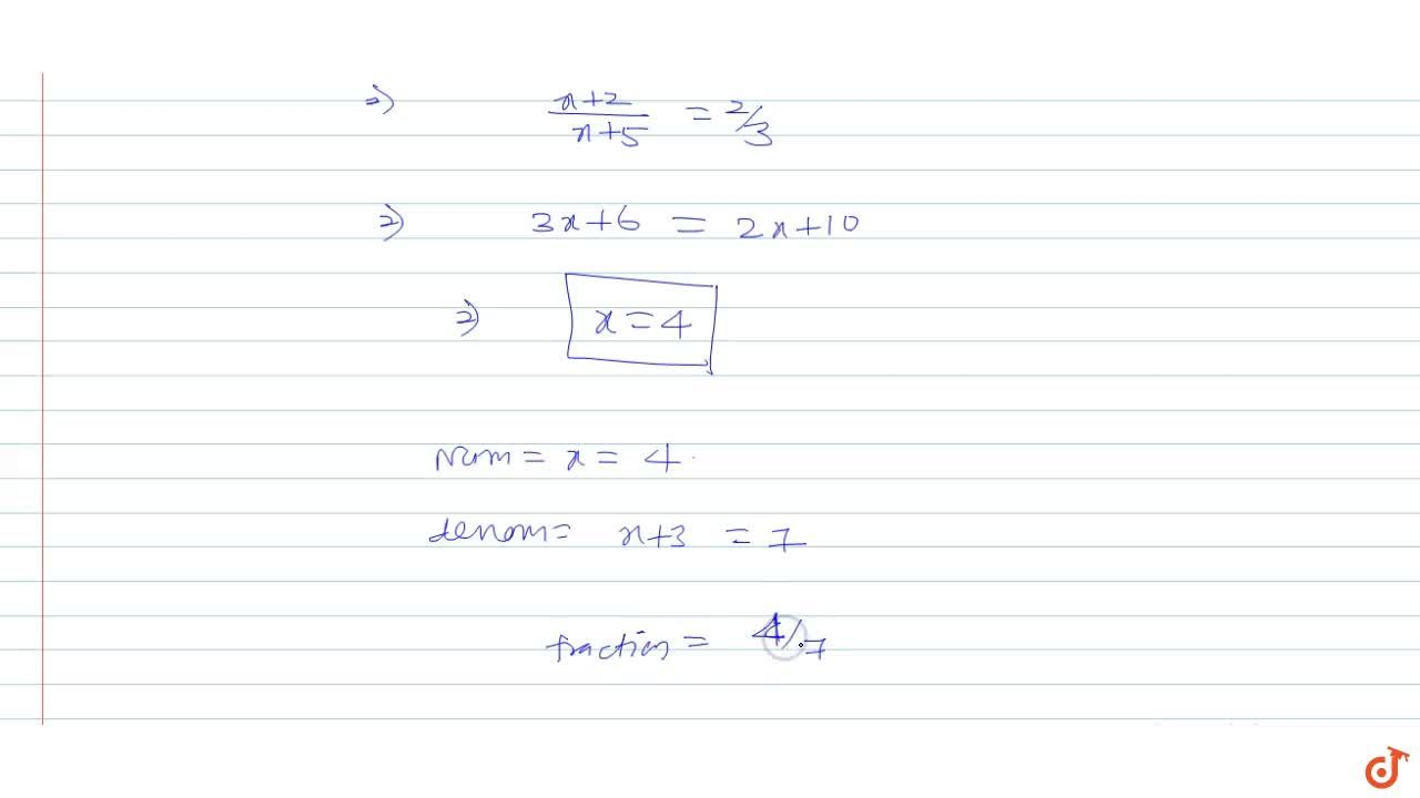 Solution for The denominator of a fraction is 3 more than its n