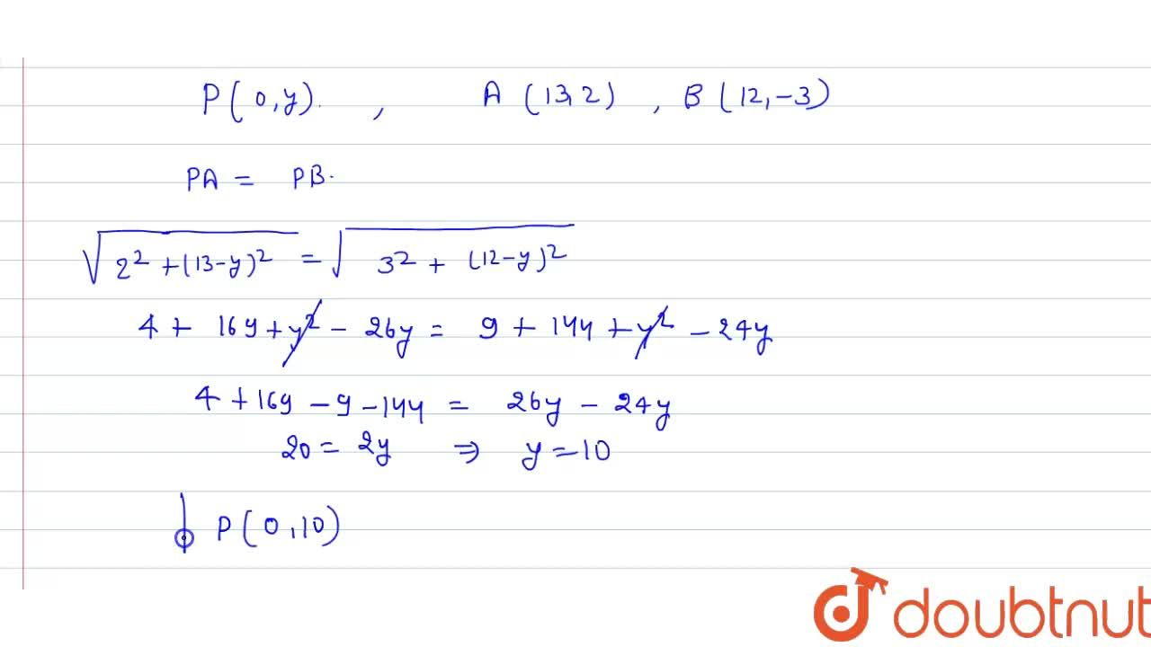 Solution for Find the coordinates of point on Y-axis which is e
