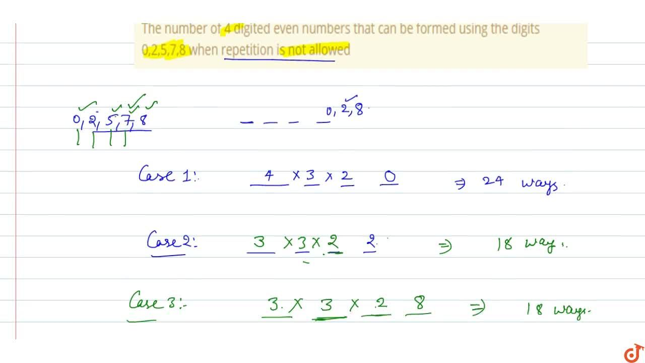 Solution for The number of 4 digited even numbers that can be f