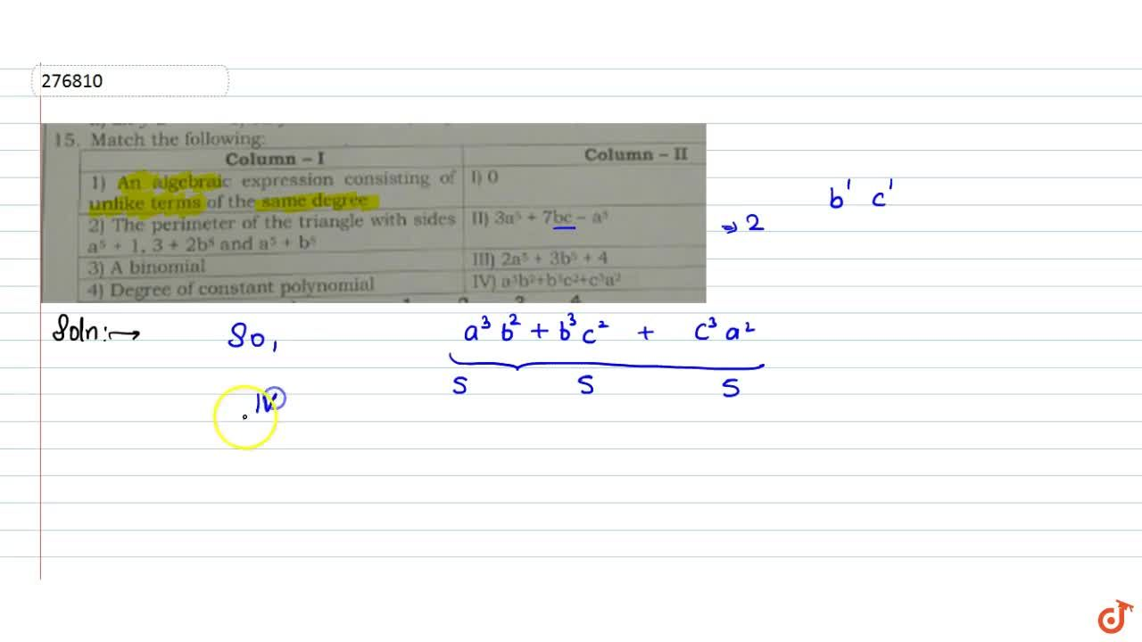 Solution for An algebraic expression consisting of unlike terms