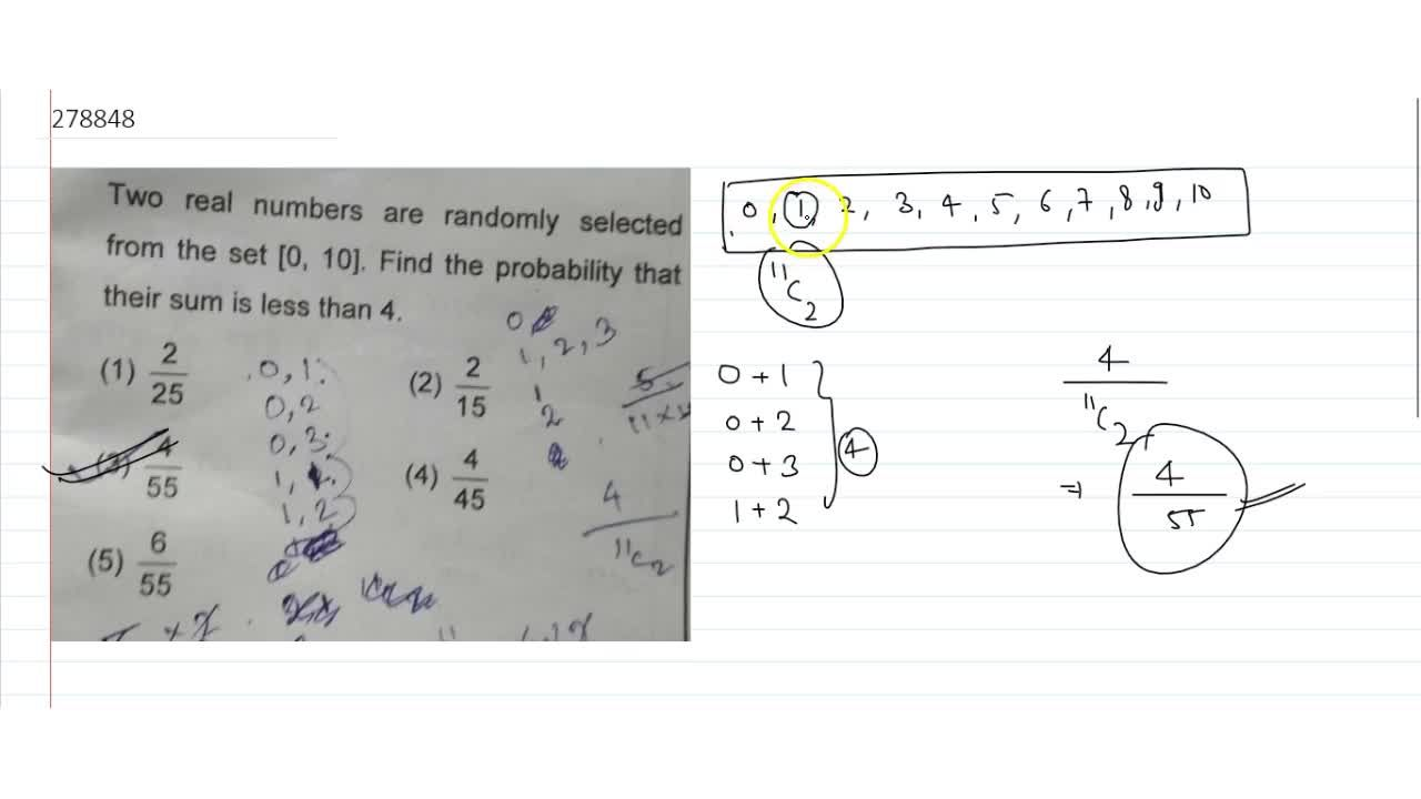 Two real numbers are randomly selected from the set [0, 10]. Find the probability that their sum is less than 4