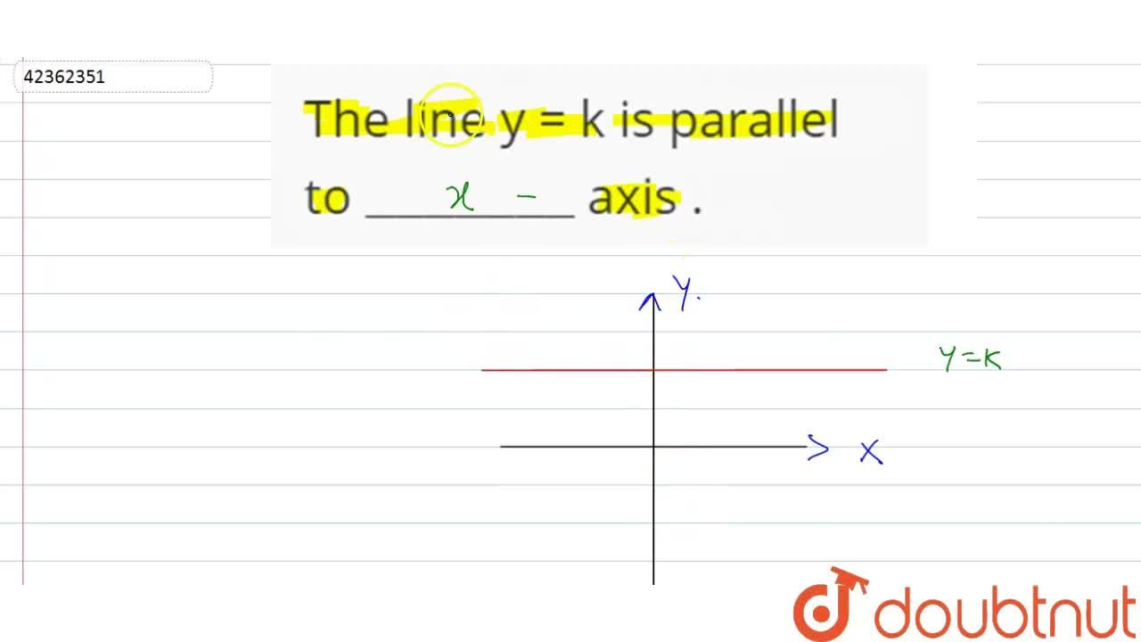 """The line y =  k is parallel to """"_______"""" axis ."""