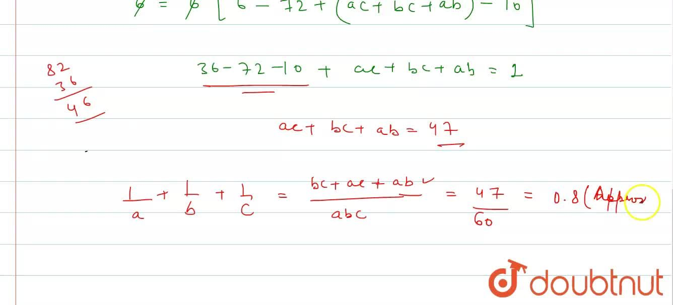 In DeltaABC, Delta = 6, abc = 60, r=1. Then the value of (1),(a) + (1),(b) + (1),(c) is nearly