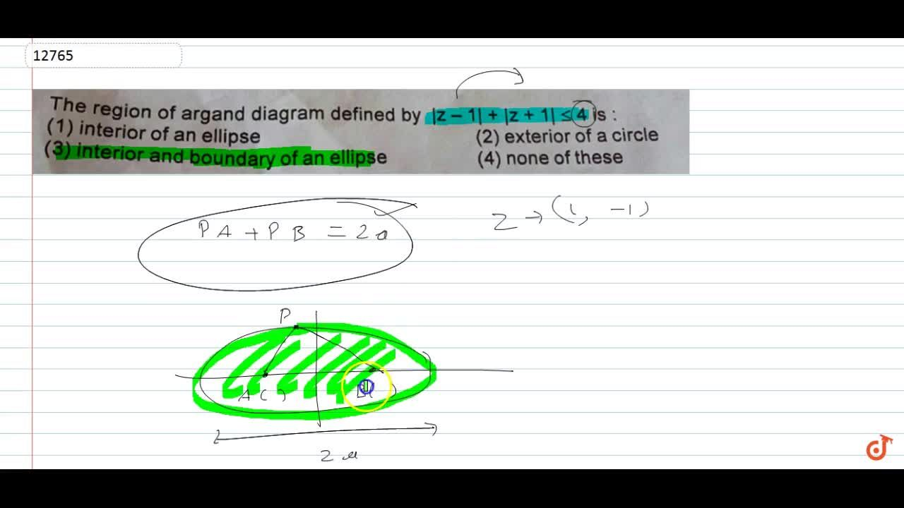 Solution for The region of argand diagram defined by |z-1|+|z+