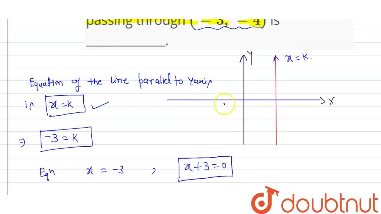 Solution for The equation of a line parallel to Y-axis and pass