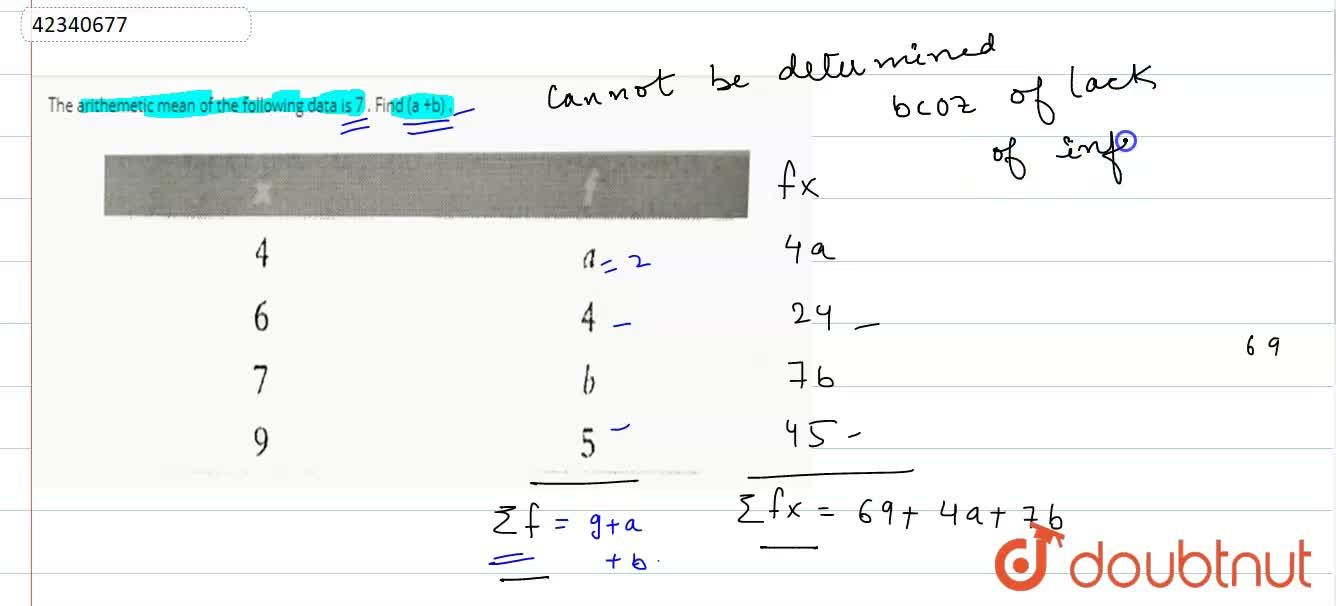 Solution for The arithemetic mean of the following data is 7 .
