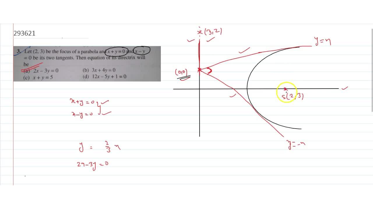 Solution for Let (2,3) be the focus of a parabola and x + y