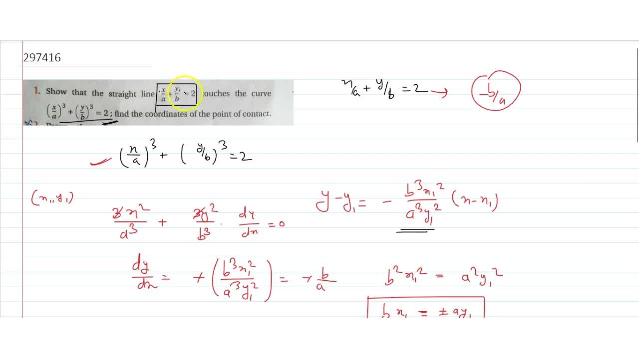 Solution for show that the straight line x,a+y,b=2 touches th