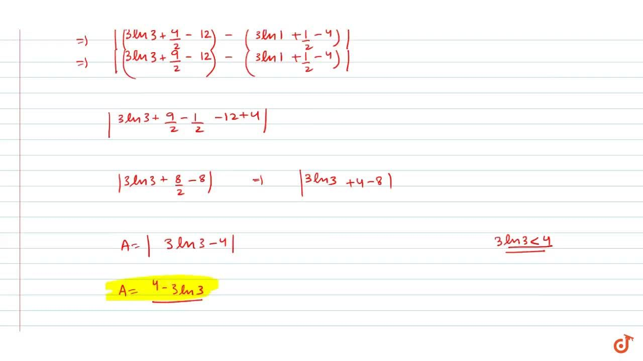 The area enclosed by the curve xy=3 and the line y=4-x