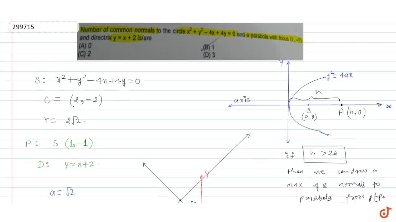 Number of common normals to the circle x^2 + y^2-4x + 4y = 0 and a parabola with focus (1,-1) and directrix y = x + 2 is,are