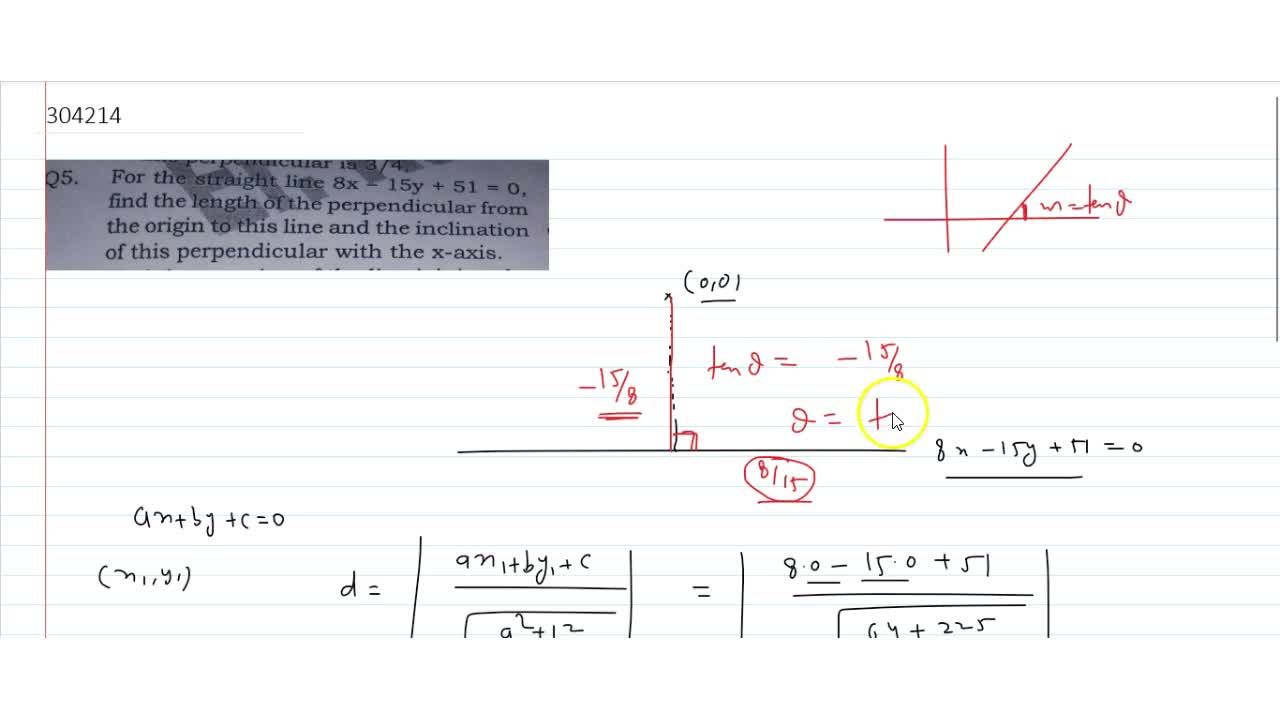 For the straight line 8x-15y + 51 = 0, find the length of the perpendicular from the origin to this line and the inclination of this perpendicular with the x-axis.