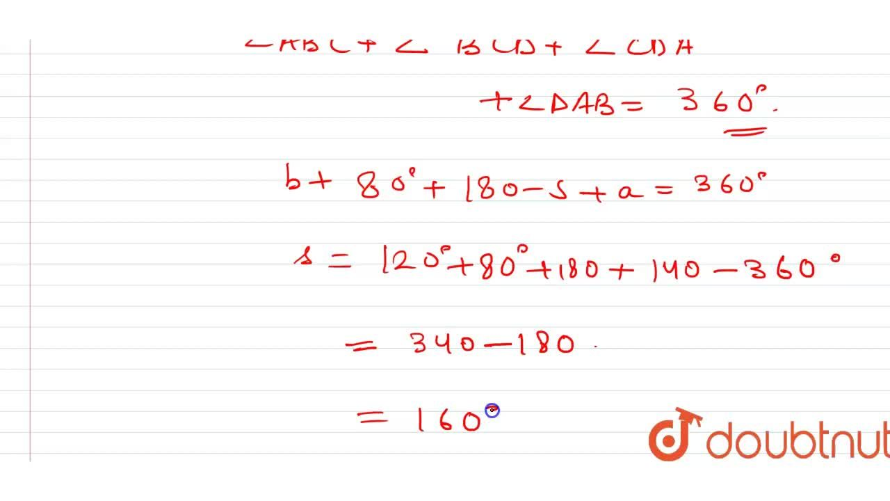 Solution for In the given quadrilateral ABCD , p^(@)+ q^(@)=10
