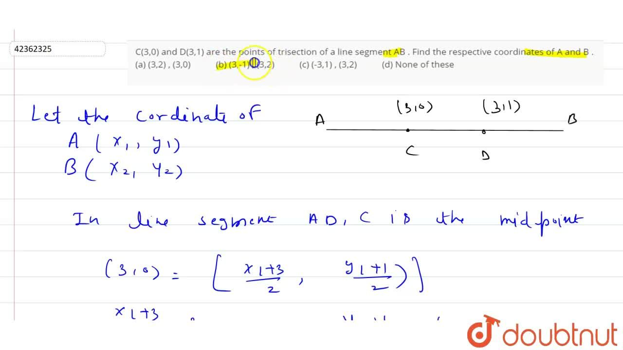 Solution for C(3,0) and D(3,1) are the points of trisection of